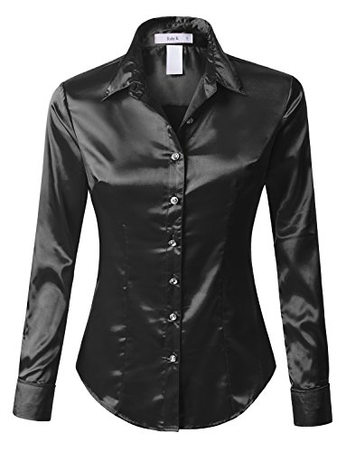 - RK RUBY KARAT Womens Long Sleeve Satin Blouse with Cuffs