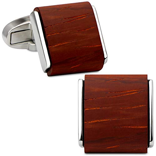 VIILOCK Men's Natural Handmade Rosewood Cufflink Handcrafted Wooden Square Cuff Links with Gift Bag (Red Sandalwood)