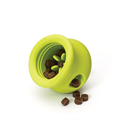 West Paw Zogoflex Toppl Interactive Treat Dispensing Dog Puzzle Play Toy, 100% Guaranteed Tough, It Floats!, Made in USA, Small, Granny Smith by West Paw (Image #1)
