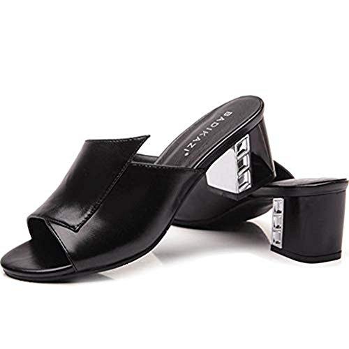 Slide Sandals Pumps Platform T Block Heel Walking Peep Black Toe Shoes Women Block Stacked JULY Sandals Heel Chunky qZ6nY7ZF