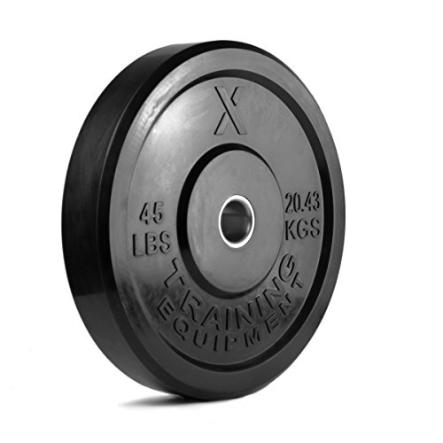 45lb Black Bumper Plate Solid Rubber with Steel Insert - Great for Crossfit Workouts - (1 X 45 lb Pound Plate)