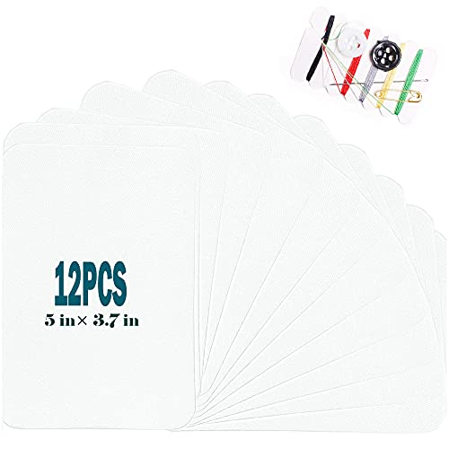 """Harsgs 12 Pieces Iron On Denim Patches Sewing Repair Patches Rectangle Iron on Inside & Outside for Clothing and DIY Repair 5""""× 3.7"""", White"""