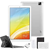 4G Tablets 10.1 inch Android 9.0,2 in 1Tablet with Keyboard, Tablet case & Mouse,4GB RAM 64GB ROM,Dual SIM Call & HD 5MP 8MP,8000mAh Quad Core Computer Tablets, Bluetooth/Google Play/GPS (Silver)