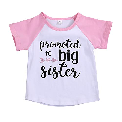 Toddler Girls T-Shirt Promoted to Big Sister Letters Print Kids Short Sleeve Tops (2-3 Years, Pink)