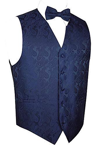Brand Q Men's Paisley Vest Bow-Tie Set-Navy S