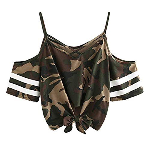 Off The Shoulder Tie Front Top,Londony ❤ღ♕Women's Striped Off Shoulder Bell Sleeve Shirt Tie Knot Casual Blouses Tops Camouflage