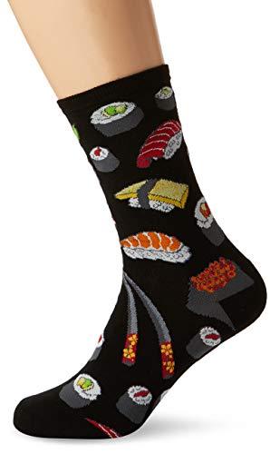 Socksmith Mens Novelty Crew Socks Sushi-Black ,Large