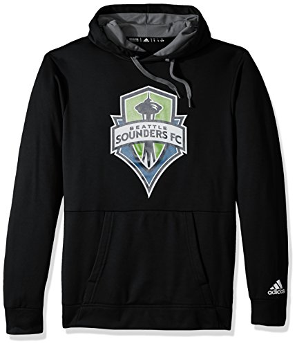 adidas MLS Seattle Sounders FC Unisex Performance Pullover Hoodperformance Pullover Hood, Black, Large