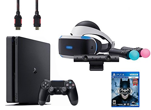 PlayStation VR Start Bundle 5 Items:VR Headset,Move Controller,PlayStation Camera Motion Sensor, Sony PS4 Slim 1TB Console – Jet Black and VR Game Disc Arkham VR