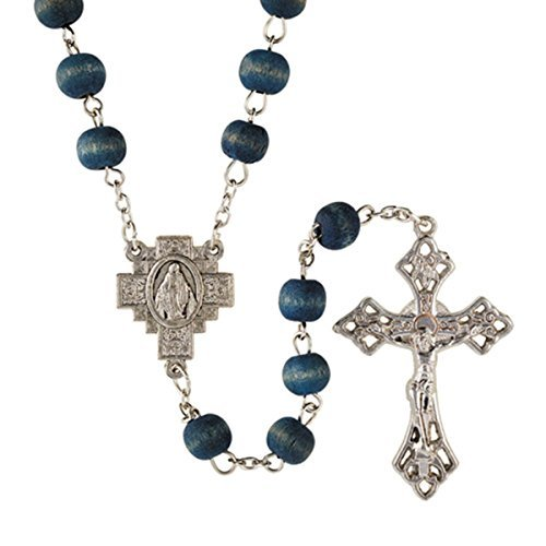 (Blue Rose Scented Wood Carved Beads Rosary, 21 Inch)