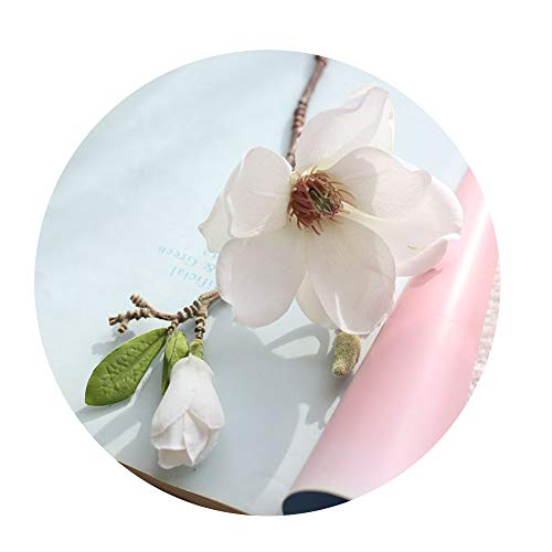 DraFenn Single-Branched Magnolia Flower Artificial Flower Fake Flower Wedding Bouquet Party Home Decoration,A (Lily Of The Valley Bouquet Kate Middleton)