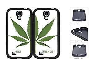 Green Weed Leaf Best Friends Set Rubber Silicone TPU Cell Phone Case Samsung Galaxy S4 SIV I9500 by icecream design