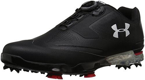 Under Armour Men's Tour Tips BOA Golf Shoe, Black (001)/Red, 12