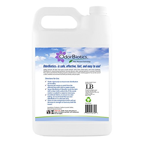 OdorBiotics Pet Stain and Odor Remover for Carpet. Eliminates Urine Smells and Pet Stains from Carpets, Rugs, Upholstery, Drapes & More, Non-Toxic, Sustainable,128 oz Size