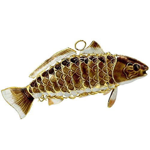 Cloisonne Fish - Red and Brown Fish Articulated Cloisonne Metal Christmas Ornament Decoration New