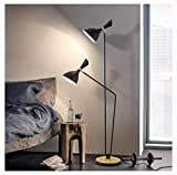WYQSZ Floor Lamp Personality Wrought Iron Floor Lamp Creative Simple Living Room Bedroom Double Head -6146 Table lamp (Color : A)