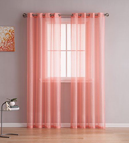 Grommet Semi-Sheer Curtains - 2 Pieces - Total - Coral And Yellow Decor