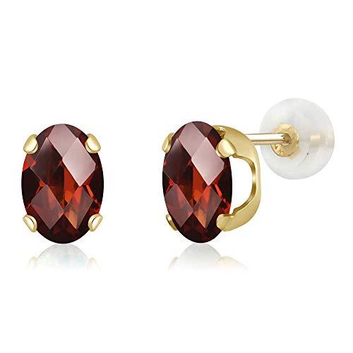 Gem Stone King 2.80 Ct Oval Checkerboard 8x6mm Red Garnet 14K Yellow Gold Stud Earrings