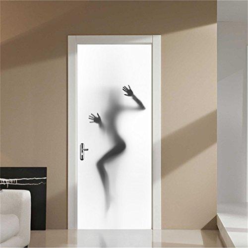 GWELL Creative Door Wall Sticker, Women Shadow Door Mural Decals Self-Adhesive Waterproof Wallpaper DIY Home Bedroom Decor Poster Decoration ()