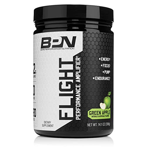 Bare Performance Nutrition | Flight Pre-Workout | Energy, Focus & Endurance | Formulated with Caffeine Anhydrous, DiCaffeine Malate, N-Acetyl Tyrosine (30 Servings, Green Apple)