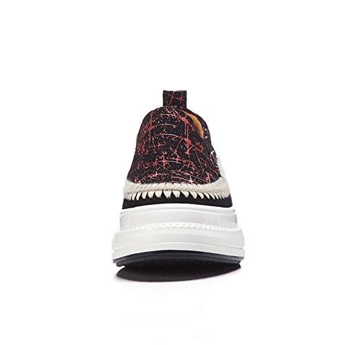 Bande 35 Femme Red Couleur WSXY Chaussures Plateformes Semelles KJJDE De Élastique Épissure Double À Baskets Q1619 HxYw6Z