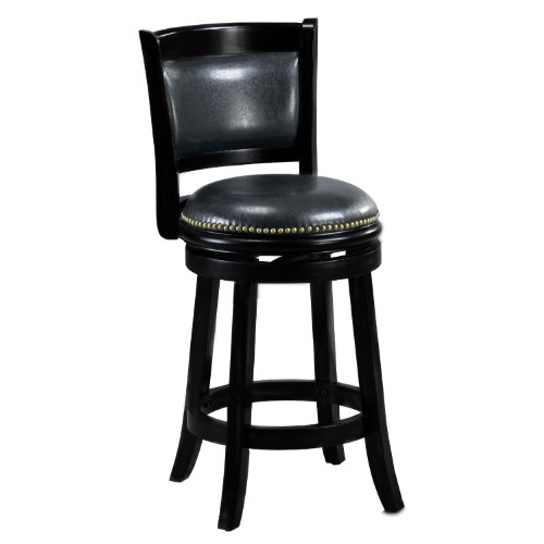Mintra Black Finish Padded Back 24 Inch Counter Stool Gift Ebay