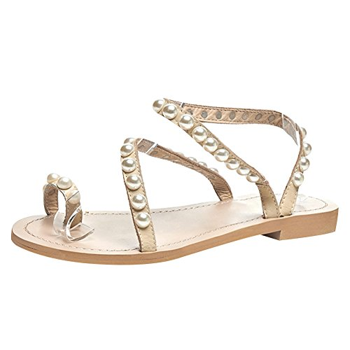 Jamron Women's Bohemia Pearls Toe Ring Sandals Summer Flat Flip Flops Beach Shoes Beige SN02408 US7.5