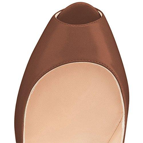 Ydn Vrouwen Peep Toe Sky High Heels Platform Pumps Enkelbandjes Schoenen Metalen Stilettos Brown-pu