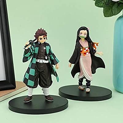 Kpop Space Anime Demon Slayer Tanjirou Nezuko PVC Figure Base Toy Decoration Ornaments Gifts( H02): Toys & Games