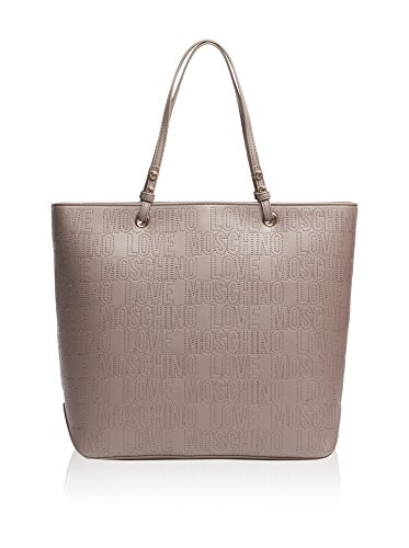 Love Moschino Shopping Shoulder Bag Calf Leather Grey
