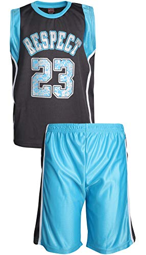 Mad Game Boys' 2-Piece Basketball Athletic Tank Top and Shorts Set, Charcoal/Turquoise Respect, Size 8/10'