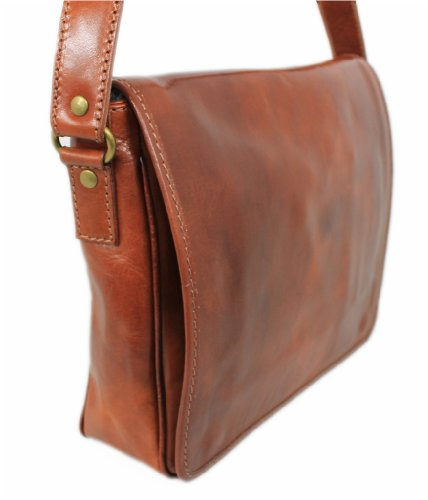 Leatherworld Italy läderfodral MARRONE axelväska iPad väska läder väska 03084