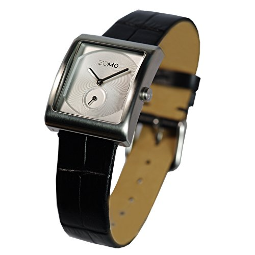 ZOMO Aroma Designer Watches for Women-Analog Swiss Quartz Classic Watches - Stainless Steel Rectangle Small Second Dress Watch with Silver dial and Black leather Strap by ZOMO (Image #1)