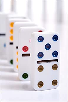 Colored Dominoes Lined Up Ready to Fall: Blank 150 page lined journal for your thoughts, ideas, and inspiration