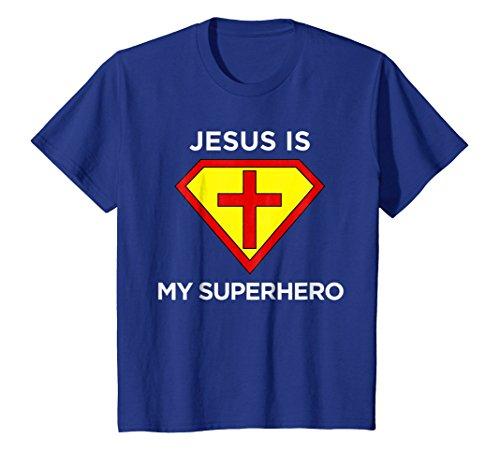Kids Jesus Is My Superhero Christian Fun Religious T Shirt 12 Royal Blue