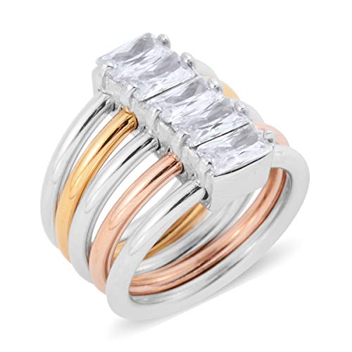 Shop LC Delivering Joy Stainless Steel Tricolor Baguette White Cubic Zirconia CZ Stackable Ring for Women Size 7.5 Cttw 1.2 Designer Tri Color Ring