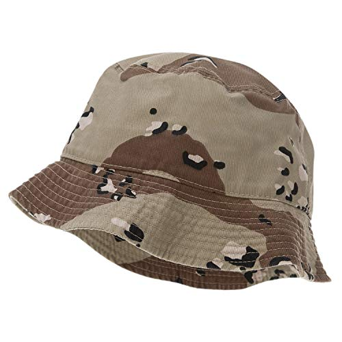 Bandana.com 100% Cotton Bucket Hat for Men, Women, Kids - Desert Camo - Single Piece - Small/Medium - Summer Cap Fishing Hat
