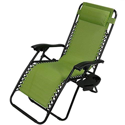 Sunnydaze Outdoor XL Zero Gravity Lounge Chair with Pillow and Cup Holder, Folding Patio Lawn Recliner, Green