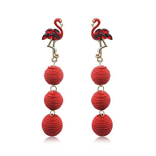 Animal Ball Drop Earring - Long Thread Lantern Ball Drop Dangle Earrings with Enamel Flamingo Ear Studs For Women(Red)