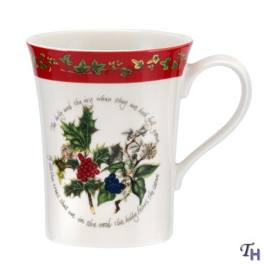 Portmeirion The Holly and The Ivy Set of 6 Mandarin Mugs - Red Border