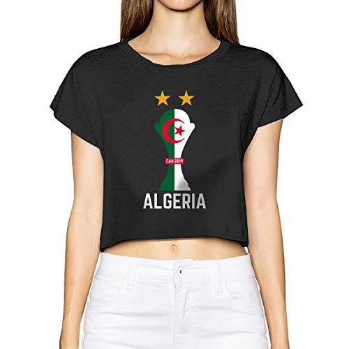 Household-items-Fly-shop Algeria Team Football Jersey Soccer Africa Cup CAN Women's Cropped Top Leaking Navel T-Shirt (Best Selling Football Jersey 2019)
