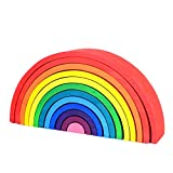 DailyLoop Large 12 Pieces Rainbow Stacker Nesting Puzzle Wooden Building Blocks for Kids Toddler Baby