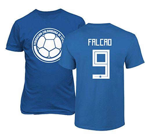 Tcamp Colombia 2018 National Soccer #9 Radamel FALCAO World Championship Men's T-Shirt (Royal, Adult Medium)
