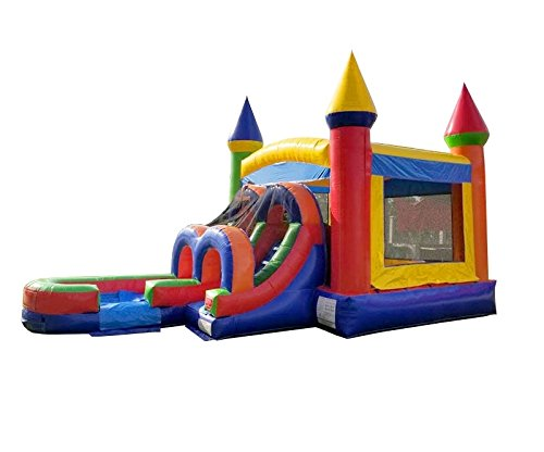 - TentandTable Rainbow Wet Dry Kids Bounce House Tunnel Front, Slide Climbing Wall Combo, Commercial Grade Inflatable, Blower Included
