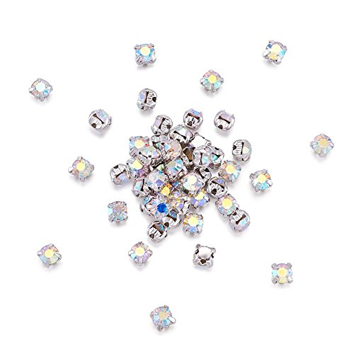 Beadthoven 50pcs 4mm Square Montee Beads Grade A Rhinestone Beads 4 Holes with Brass Findings for Making Bracelets Necklaces Rings, Hole: 1mm (Crystal AB Color)