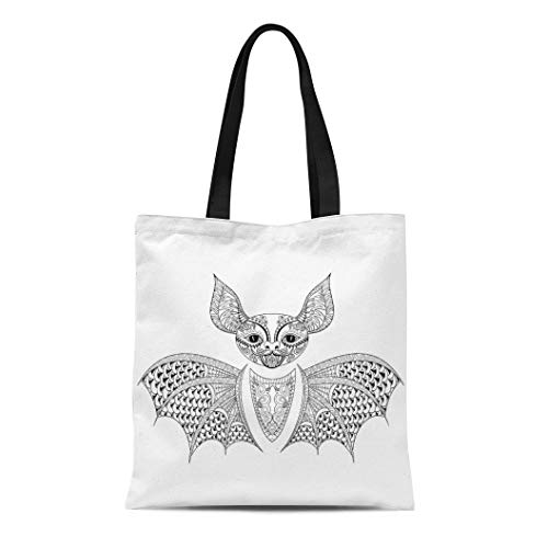 Semtomn Cotton Canvas Tote Bag Zentangle Bat Totem for Adult Anti Stress Coloring Page Reusable Shoulder Grocery Shopping Bags Handbag Printed]()