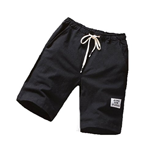Clearance ! PASATO Classic Mens Beach Pants Sports Breathable Fashion Pants Summer Fitness Running Pants(Black, XXL) by PASATO