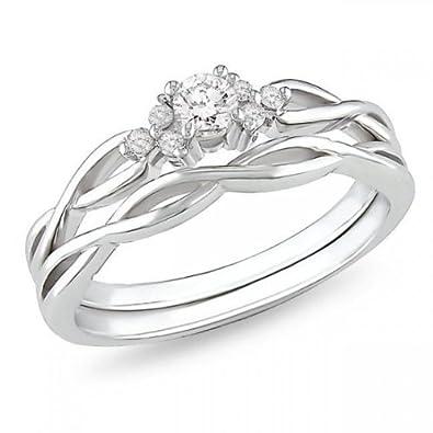 8b9b2ac54d2d78 .25 Carat Affordable diamond infinity wedding ring set in 10k white gold:  JeenJewels: Amazon.co.uk: Jewellery
