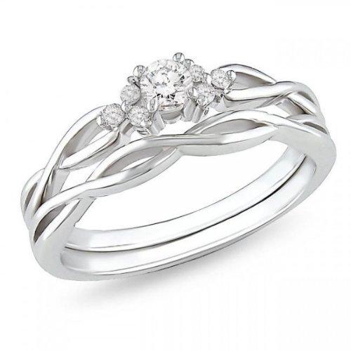 25 kilates diamante asequibles, infinito de anillo de bodas situado en 10 K oro blanco