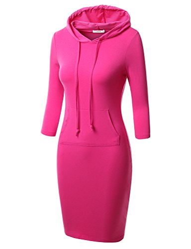 J.TOMSON Women's Bodycon 3/4 Raglan Sleeve Hoodie Dress with Kangaroo Pockets FUSCHIA 2XL (Hooded Sweater Dress)